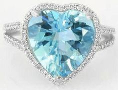 Aquamarine Diamond Ring: I think the heart-shape would be cheesy but I kinda like this one :-)