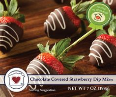 All of the decadent flavor of chocolate covered strawberries has been loaded into our new Chocolate Covered Strawberry Dip Mix. Real strawberries, chocolate chi