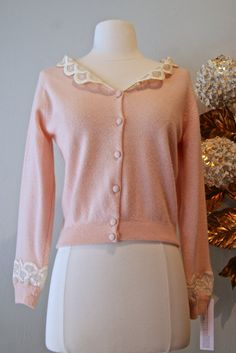 50s Sweater / Vintage 1950's Peach Lace Collar by xtabayvintage, $98.00