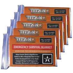 TITAN Two-Sided Emergency Mylar Survival Blankets, 5-Pack | Designed for NASA Space Exploration and Heat Retention | Perfect for Marathons, Emergency Kits, and Go-Bags. Free eBooks included. >>> Unbelievable product right here!   Safety and Survival