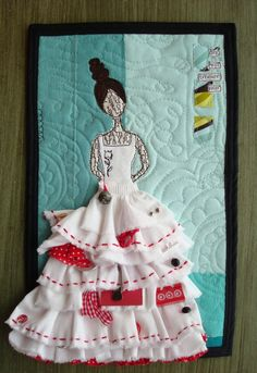 Art Quilt  Magpie Girl  Aqua and Red by believemagic on Etsy, $60.00