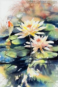 "Lian Zhen watercolor artist ""Water Lilly"" $825