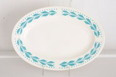 Vintage Homer Laughlin Plate: Laughlin China Turquoise Hemlock Pattern Small Oval Platter, Aqua Leaf Design. $10.00, via Etsy.