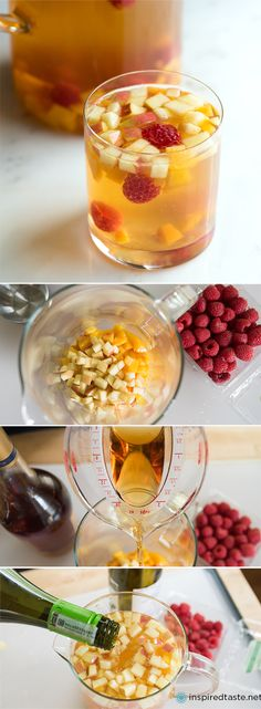Fruity White Sangria with Moscato wine, peaches and raspberries. From www.inspiredtaste.net #sangria #drink #wine