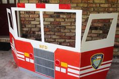 Fireman party photo booth; firetruck party photo booth display