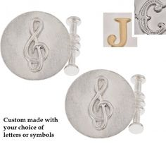 Custom made to order in Australia in solid gold or sterling silver featuring initials or symbols Gifts For Father, Fathers, Different Symbols, Sterling Silver Cufflinks, Tie Clips, Round Design, Gold Letters, Design Your Own, Solid Gold