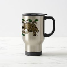 Boar Hunt Travel Mug.  Sunday Steal: 50% off luggage tags, travel mugs & more! USE CODE: ZSUNSTEAL163 Offer is valid through January 22, 2017 11:59PM PT.  #zazzle #travel_mug #boar #hound #boar_hunt #medieval_hound #medieval_boar #medieval_hunt #wild_boar