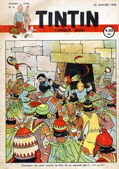 """Hergé [Note: I won't be posting all the Tintin-magazine covers... a lot of the later ones seem a bit second-rate. Maybe it was Herge's assistants who did them? The ones made during the """"Prisoners of the Sun"""" era are good though.]"""