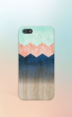 Coral x Mint x Blue x Wood Chevrons Design Case