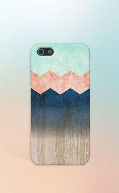 Coral x Mint x Blue x Wood Chevrons Design Case