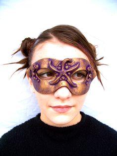 Mermaid Starfish Carnival Mask: Handmade Polymer Clay. $70.00, via Etsy.