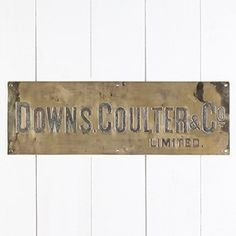 Engraved Brass Sign for 'Downs, Coulter & Co Ltd' - The Hoarde