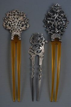 Three pierced sterling silver hairpins, ca. 1900