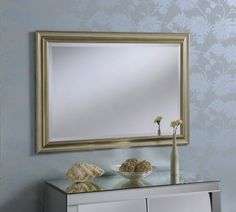 Traditional Speckled Light Gold Frame Mirror 102 x 43cm