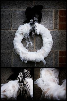 Gauze Halloween Wreath | DIY wreath hanging from skeleton hands. Front door / porch decorations. Holiday craft ideas for decorating home or party.