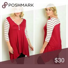 Sweet Candy Striped Sleeve Top Fabric: 96% Rayon 4% Spandex   Plus size stripe sleeve jersey tunic top. Tops