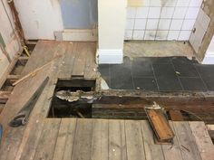 Dry rot in a kitchen floor due to sudden leak Kitchen Flooring, Homes, Shape, Table, Home Decor, Houses, Decoration Home, Room Decor, Home