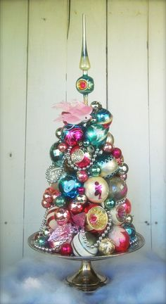 vintage Christmas topiary - decor - centerpiece