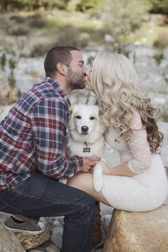 Awesome outdoor engagement pictures! & They included their dog..So cute!! .....(Yay look what I found)