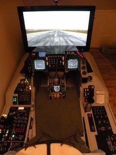 Flight Simulator Cockpit, Racing Simulator, Gaming Room Setup, Pc Setup, Airplane Decor, Man Cave Room, Video Game Rooms, Game Room Design, Flight Deck