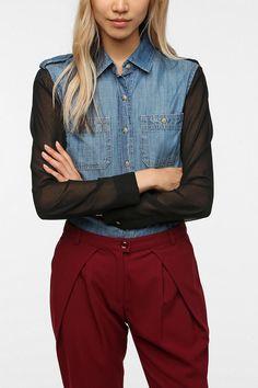 BDG Chiffon Sleeve Chambray Shirt