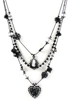 Amazon.com: Betsey Johnson Jewelry Iconic Jet Crystal Layer Necklace New 2012: Jewelry..♥....#EvolvingFashion #JewelryLayering #NecklaceLayering http://evolvingfashion-hair-nails-clothing.blogspot.com/