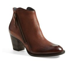 """Paul Green 'Aubrey' Bootie, 3"""" heel ($194) ❤ liked on Polyvore featuring shoes, boots, ankle booties, cigar, leather bootie, short western boots, ankle cowgirl boots, cowboy boots and ankle boots"""