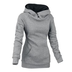 Stylish Front Pockets Solid Color Long Sleeve Women's Hoodie, GRAY, M in Sweatshirts & Hoodies | DressLily.com