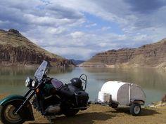 Home of Idaho Bedroll motorcycle teardrop trailer. Motorcycle Campers, Motorcycle Trailer, Teardrop Trailer, Sidecar, Camper Trailers, Idaho, Trucks, Camping, Motorcycles