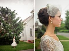 Love the veil and sleeves  -- photography by Rebekah Murray