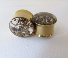 Plugs Gold Tunnels Real Purple Flower & Sea Moss by HandmadeAt62