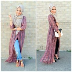 long kimono hijab outfit- How to wear long cardigan with hijab http://www.justtrendygirls.com/how-to-wear-long-cardigan-with-hijab/