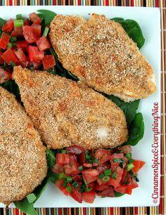 Oven-Fried Parmesan Crusted Bruschetta Chicken