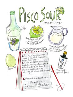 "Pisco Sour Watercolor Print 9""x12"" Kitchen Art by RabbitduckWorkshop on Etsy…"
