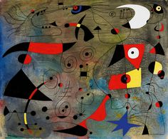 Femme et oiseaux is the eighth composition in Miro's Constellations – a series comprising twenty-three paintings that he produced in under two years, from January 1940 to September 1941. The painting is a mesmerising example of the Miró's celebrated lyricism and freedom of expression: the ground has been brushed, scraped, polished, moistened and rubbed, creating the gradated pockets of light and dark that convey the celestial boundlessness in which the objects float.