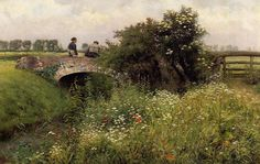 Emile Claus (Belgian 1849–1924), A Meeting on the Bridge.