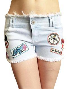 Cartoon Letters Badge Rough Fringes Light Color Denim Shorts Women's Jeans Bottoms For Sale on buytrends.com