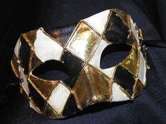 Black, Cream and Gold Harlequin Mask. $35.00, via Etsy.
