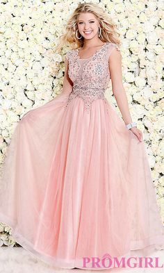 Long Sheer Pink Scoop Neck Prom Dress