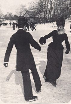 Couple ice skating in Central Park, New York City, circa 1880s