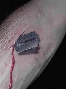 Razor Blade Tattoo....I want this on my heart.