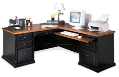 Southampton Onyx L-Shaped Executive Desk with Right Facing Keyboard Return