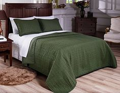 Vintage Washed Solid Cotton 3pcs Quilt Coverlet King, Green -- Be sure to check out this helpful article. #QuiltsSets