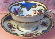 Pretty in Pink-and Blue-Hammersley PedestalTeacup and Saucer