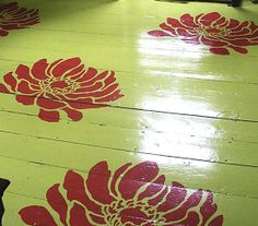 #Stenciled floors are so cool! This #AnemoneGrande flower #stencil is so pretty, too :)    http://blog.cuttingedgestencils.com/create-a-craft-project-with-a-flower-stencil.html