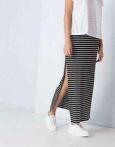 Bershka Ukraine - Bershka long skirt with side slit