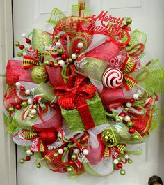 Items similar to Gift Box Deco Mesh Christmas Wreath - Red and Lime Green - Raz Decorations - Whimsical Wreath - Christmas Decor on Etsy Christmas Door Wreaths, Holiday Wreaths, Holiday Decor, Red Christmas, Christmas Trees, Winter Wreaths, Burlap Christmas, Christmas Music, Christmas Pictures
