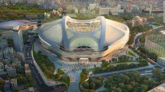 The New Tokyo National Stadium in Japan by Zaha Hadid for the 2020 Summer Olympics. Stadium Architecture, Eco Architecture, 2020 Olympics, Tokyo Olympics, Summer Olympics, Prix Pritzker, Olympic Venues, National Stadium, Sports Stadium