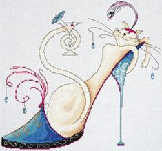 Martini Cat - cross stitch kit by Design Works - An elegant Art Deco cat with an elegant lifestyle. Cat Cross Stitches, Counted Cross Stitch Kits, Cross Stitch Charts, Cross Stitching, Cross Stitch Embroidery, Modern Cross Stitch Patterns, Cross Stitch Designs, Cross Stitch Pictures, Cross Stitch Supplies