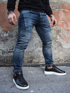 P&V Men Slim Fit Soft Side Jeans - Blue